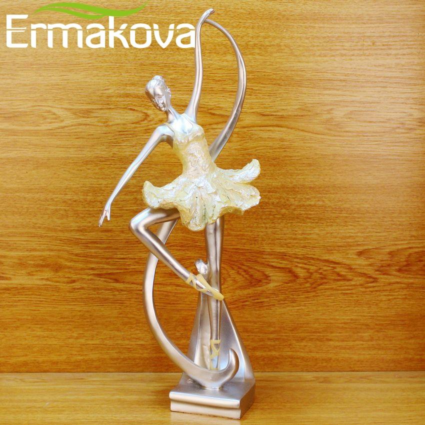 ERMAKOVA 15.5Resin Graceful Ballet Dancing Girl Sculpture Ballerina Statue Dancer Figurine Home Living Room Decor(Yellow Color)
