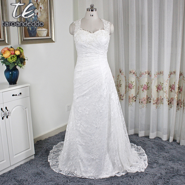 Allover Lace Slim Sheath Queen Anne Neckline Ruched Wedding Dress 6181 Lace  Up Keyhole Back Bridal
