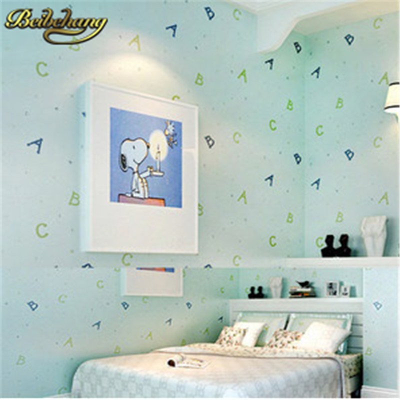 beibehang papel parede Lovely ABC Print Kid Bedding Room Ecofriendly Fantasy Non-woven Wall Paper Children Mural Wallpaper roll