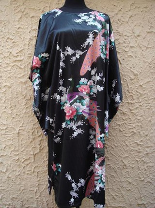 Chinese National Trend Black Female Silk Robe Bath Gown Nightdress Casual Home Dress Sexy Printed Sleepwear One Size