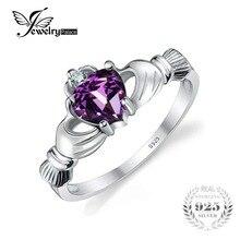 Jewelrypalace corazón 0.5ct anillo de promesa claddagh irish birthstone amatista natural 925 joyería de plata esterlina anillos para las mujeres