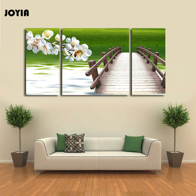 triptych canvas prints large 3 panel spring natural green scenery
