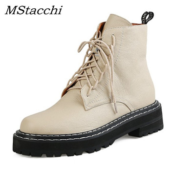 MStacchi Women Genuine Leather Zipper Boots Woman Chunky Motorcycle Botines Mujer Autumn Winter Round Toe Lace-up Combat Boots