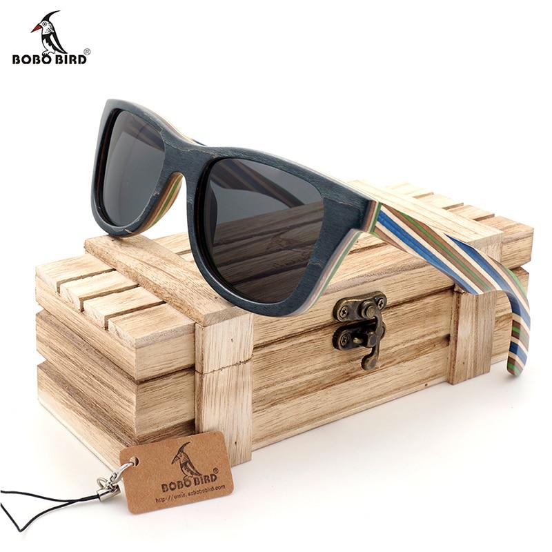 BOBO VOGEL Natuurlijke Houten Zonnebril Mannen bamboe zonnebril Vrouwen Merk Designer Originele Hout Bril Oculos de sol masculino