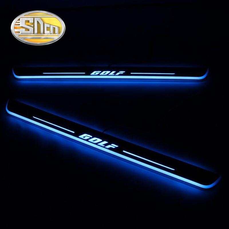 SNCN 4 pièces acrylique mobile LED bienvenue pédale voiture plaque de seuil de porte pédale voie de seuil lumière pour Volkswagen Golf 7 MK7 2014-2018