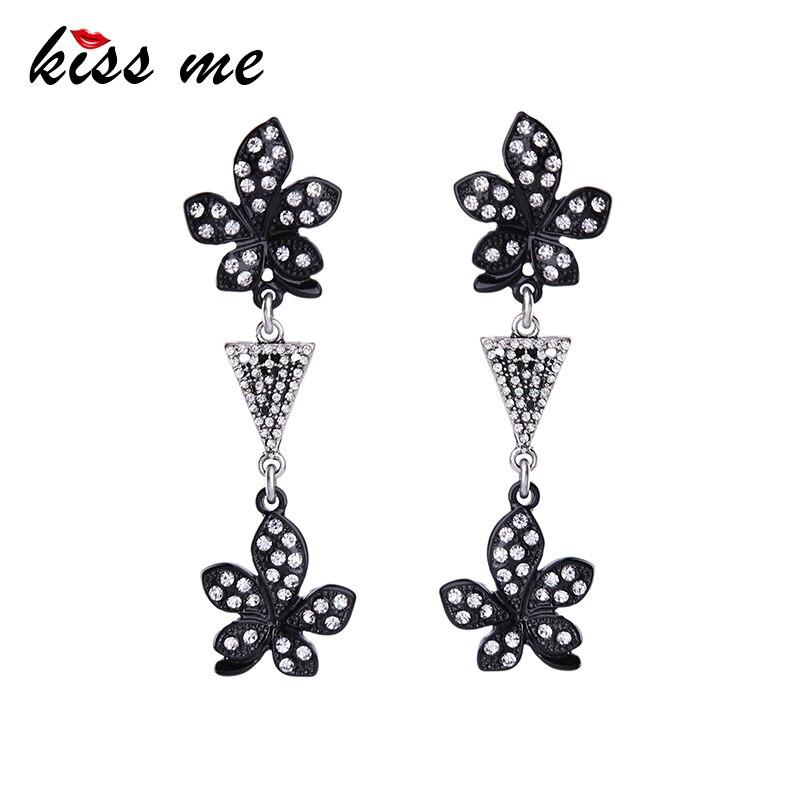 KISS ME Brilliant Long Dangling Crystal Flowers Earrings for Women 2017 Luxury Brand Jewelry Brincos