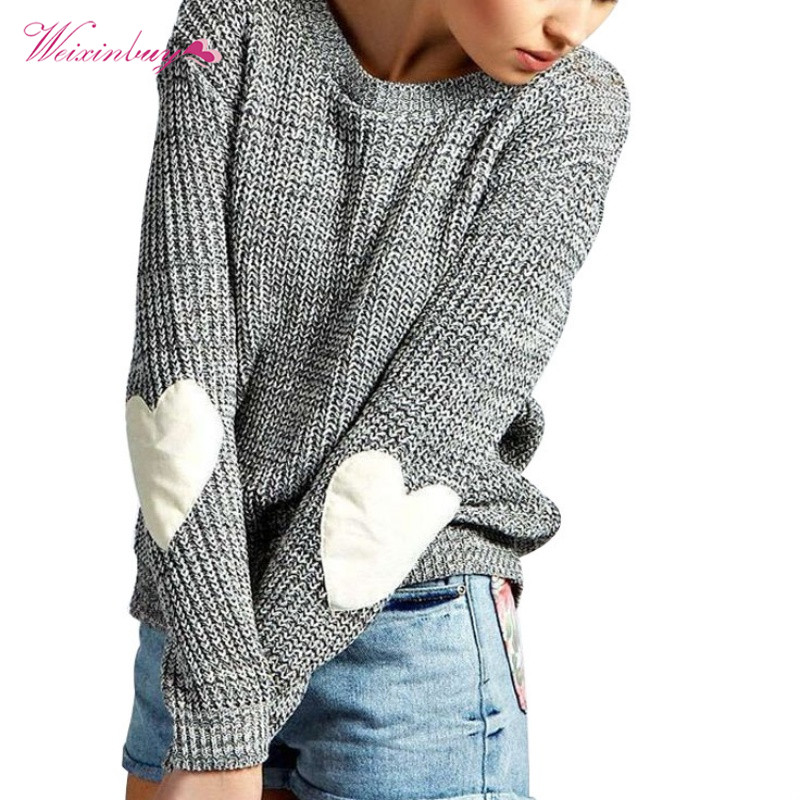 Women Casual Sweaters Autumn Love Heart Appliques Sweater Women Long Sleeve Knitted Pullovers Jumper Female