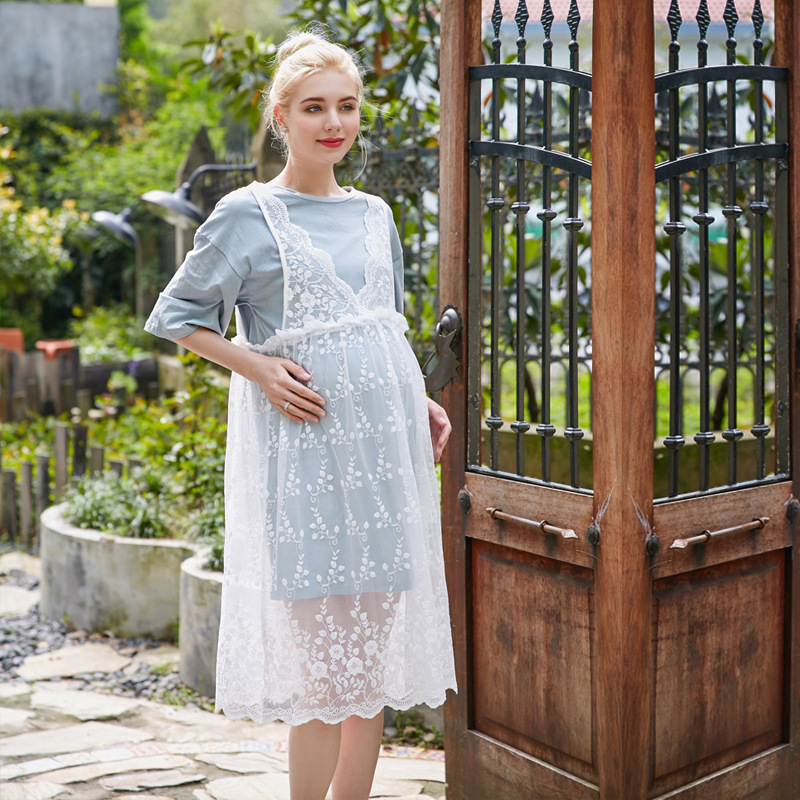 Maternity Dresses Pregnancy Clothing Pink Blue Short Sleeves Summer Pregnant Dress Women With Lace Premama Maxi Dresses 2 piece pink lace up design long sleeves top and pleated design skirt two piece outfits