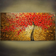Handpainted modern home decor wall art picture for living room big red flower thick palette knife oil painting on canvas unframe