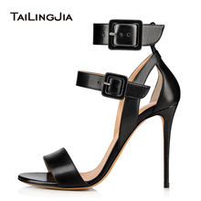 Black High Heel Sandals for Women Ankle Buckle Strap Nude Stiletto Heels Ladies Summer Party Evening Dress Shoes Large Size 2019 fashion summer woman roman style knee high chunky high heel hollow strap sandals real photo black nude 34 42 large size