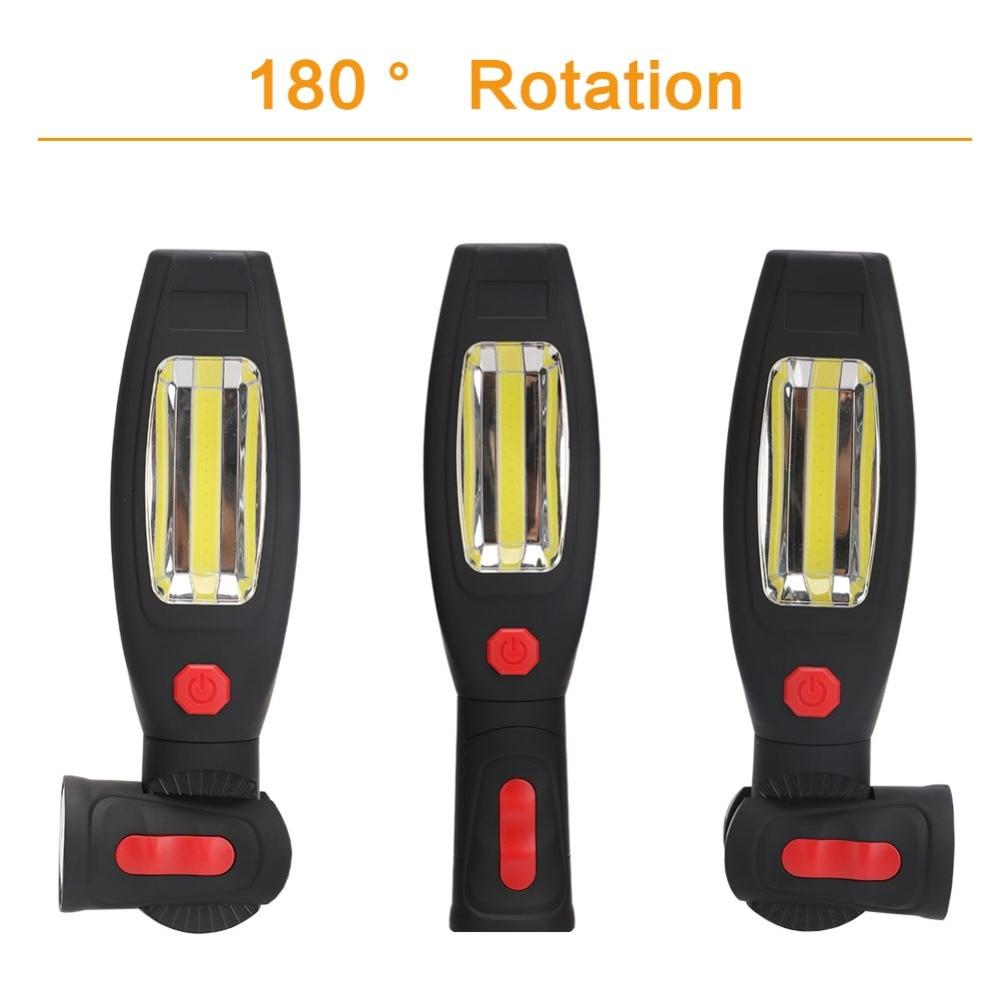 1*COB LED+1*1W LED Work light 2 Mode USB Rechargeable Flashlight Magnetic Portable Spotlight Torch Built-in Battery Lamp