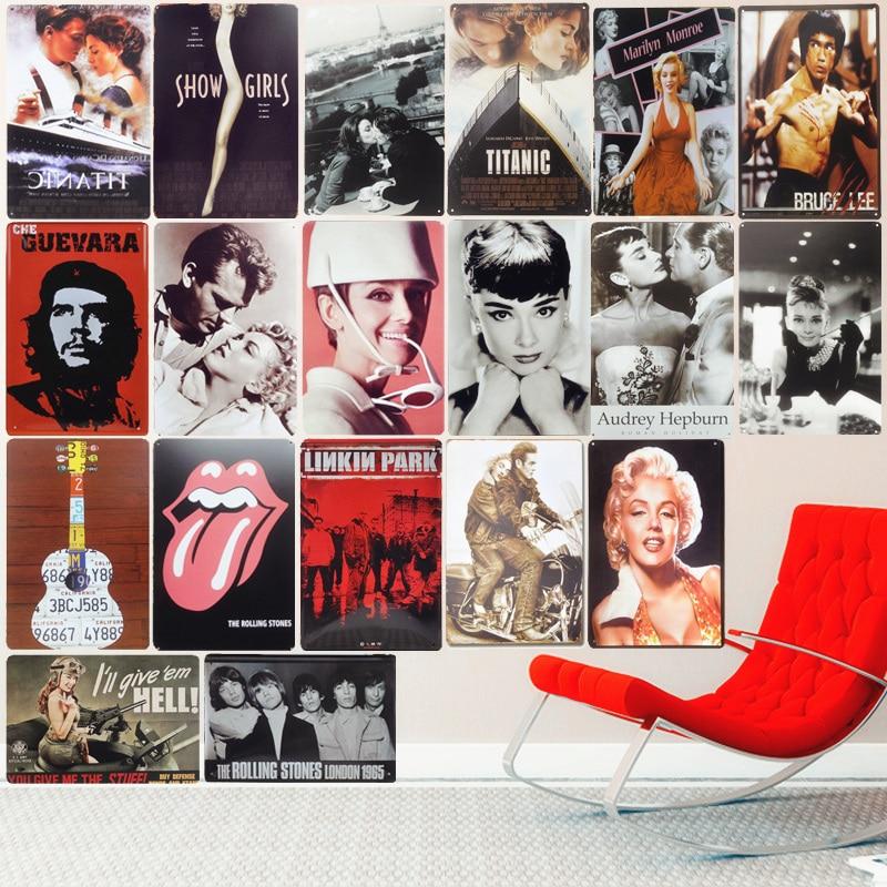 Movie Celebrity Vintage Metal Tin Signs Decoration Plates for Bar Pub Cafe Cinema Home Wall Decor Music Retro Plaques 20X30cm