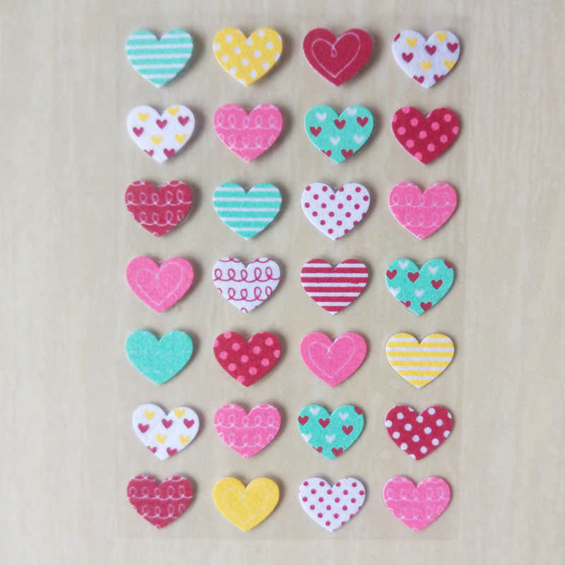 3D heart shaped Stickers Colorful Color Love Stickers Mobile phone book decoration Toys for Children Kindergarten students gifts