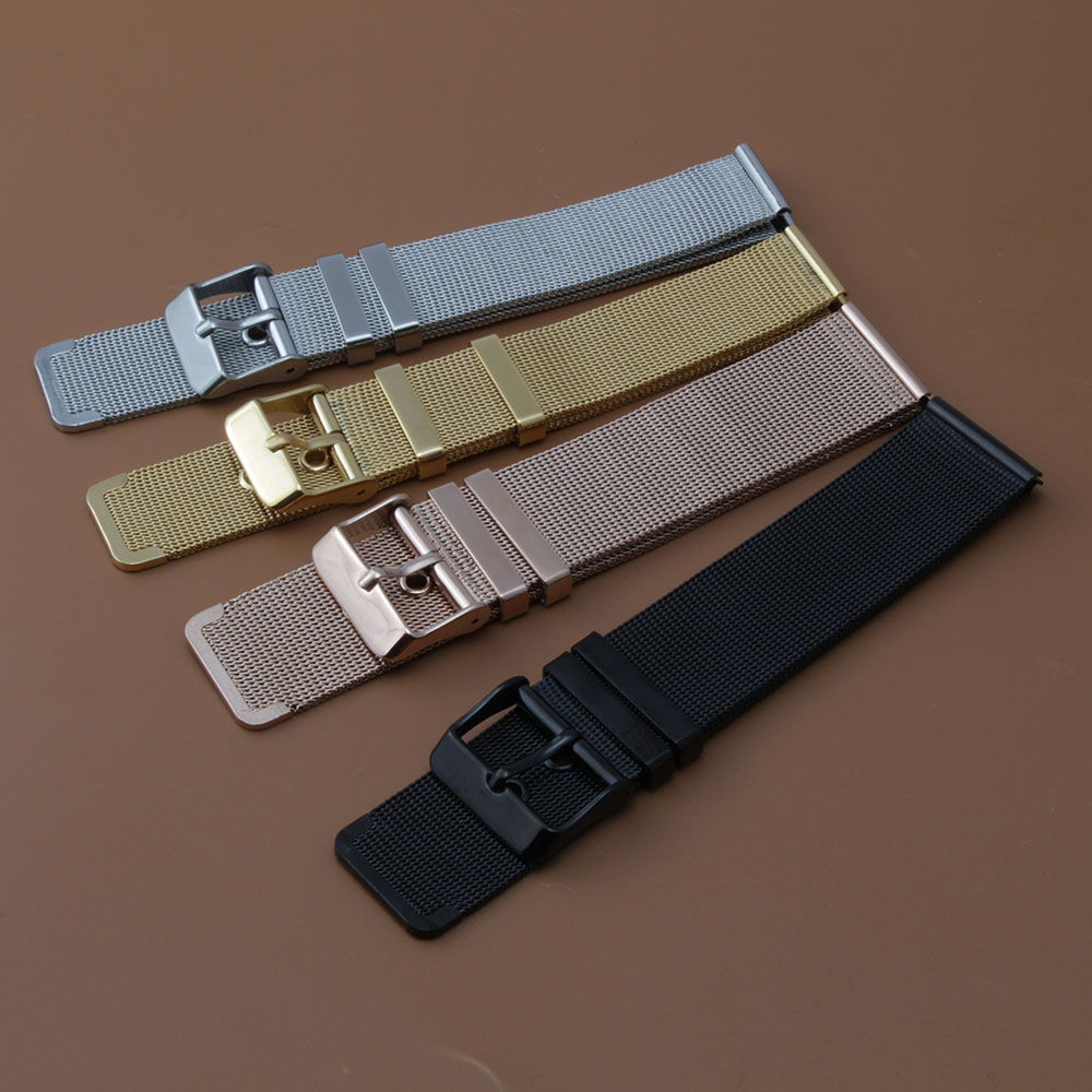 Classic Watchband stainless steel mesh pin buckle watch strap gold rosegold black silver color 18mm 20mm 22mm 24mm promotion new ysdx 398 fashion stainless steel self stirring mug black silver 2 x aaa