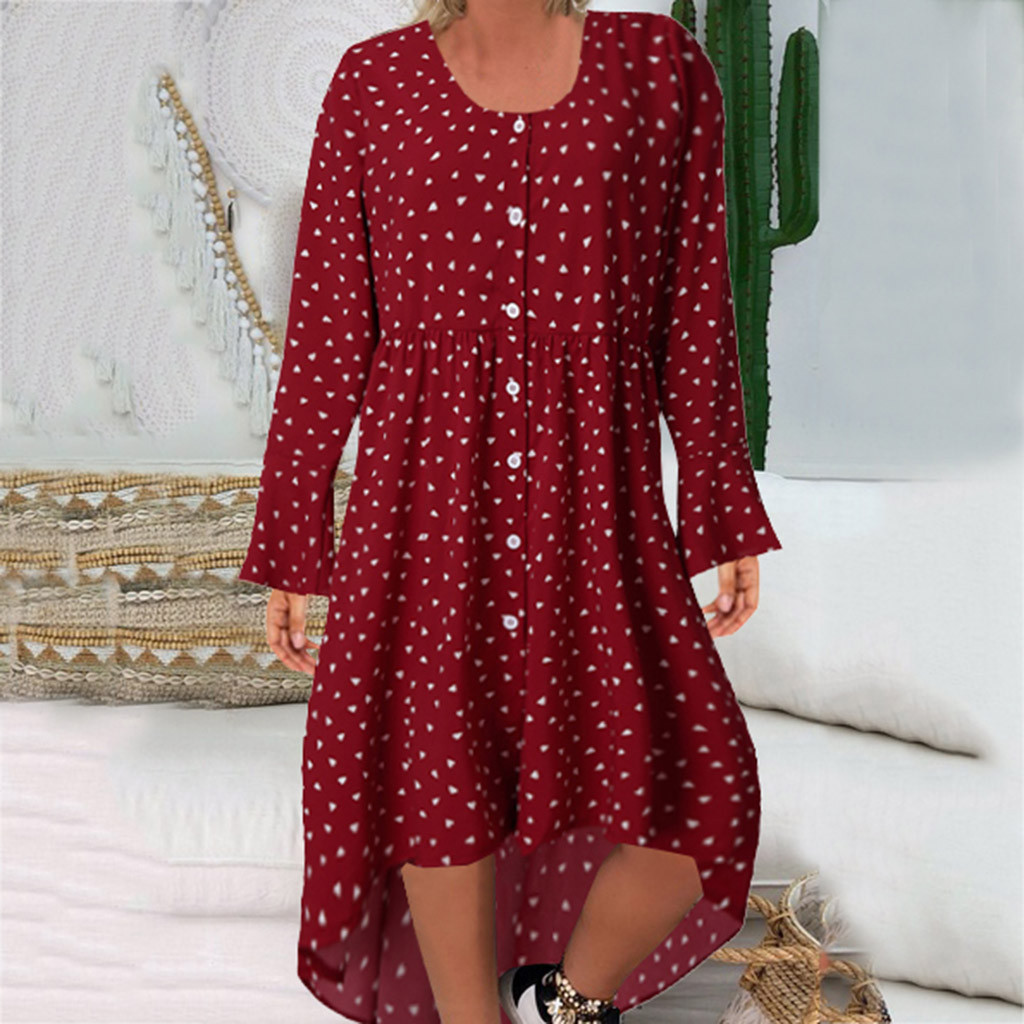 Womens Summer Dresses Beach Plus Size Summer Dress 2020 2XL Sundress Casual Leopard Print O-Neck Full Sleeve Easy Code Dress Z4