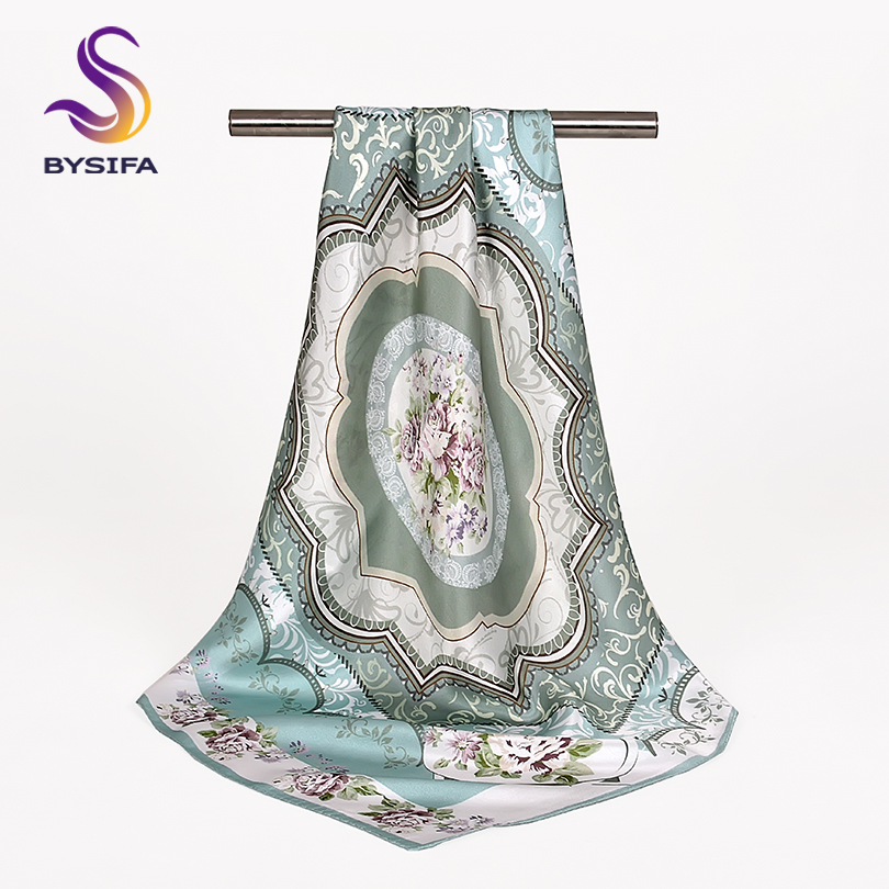 [BYSIFA] Ladies Light Green Silk Scarf Shawl Fall Winter Elegant Peony Design Square Scarves 68*68cm Chinese Style Neck Scarf