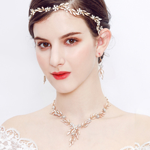 Elegant Boho Hair Vine Wedding Prom Headband Bride Bridesmaid Crystal Pearl Floral Leaves Hairband Accessories