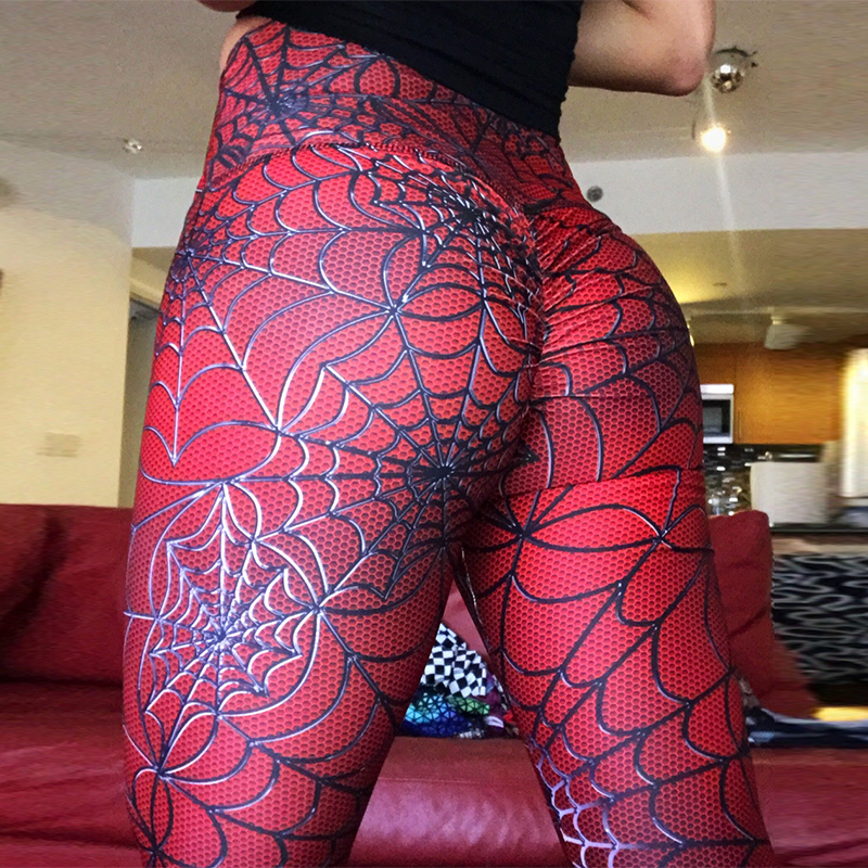 2019 Spider de impresión polainas poner cadera elástico cintura alta Legging transpirable Pantalones Slim