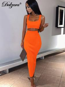 Dulzura Clothing Skirt Crop-Top Festival Ribbed Knitted Neon Two-Piece Party Midi Sexy
