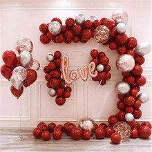 10Pcs Red Confetti Latex Balloons Set Metallic For Wedding Birthday Party Decorations