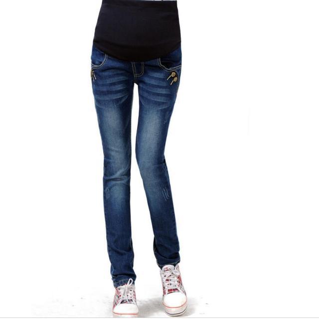 b4be94df6 De alta calidad de Primavera de 2019 de Denim Pantalones de embarazo  elástico Slim polainas invierno