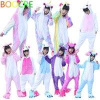 Unisex For Kids Children Gilrs Boys Unicorn Tenma Rainbow Sleepwear Flannel Pajamas Animal Cosplay Costume Onesi