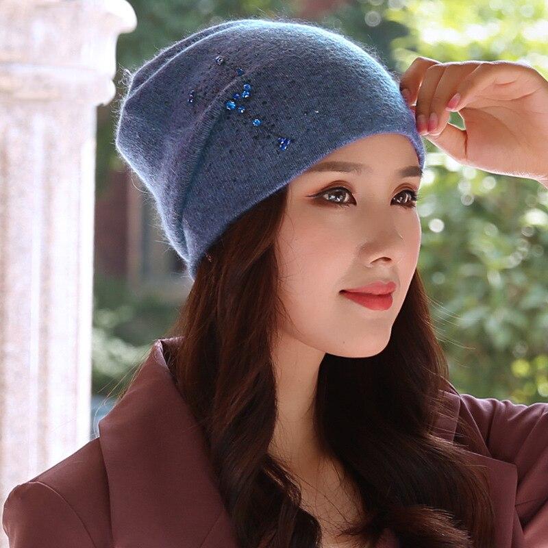 Beanie Women Winter Angora Knit Hat Warm Rhinestone Headwear  Soft Casual Slouch Stretchy Outdoor Ski Accessory (2)