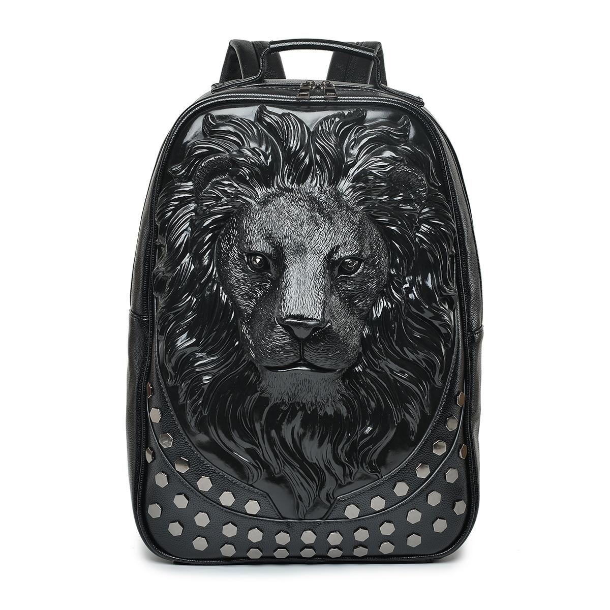 Мужской рюкзак женский кожаный мягкий 3D тисненый голова льва шипованные заклепки Gother путешествия панк-рок рюкзак для ноутбука школьные сум...