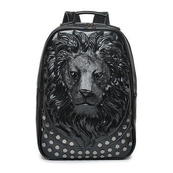 Men Backpack Women Leather Soft 3D Embossed Lion Head Studded Rivet Gother Travel punk rock Backpack Laptop School Halloween Bag