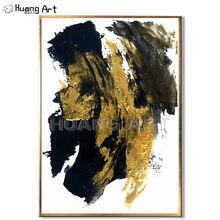 Ручная работа золотой и черный абстрактный нож картина маслом