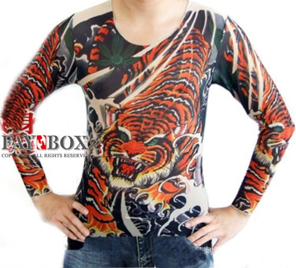 Free shipping men women long sleeve spandex tattoo t for Tattoo shirts long sleeve
