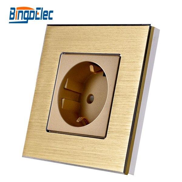 цена на EU standard golden aluminum panel socket, germany socket,220V,16A power socket,Hot Sale