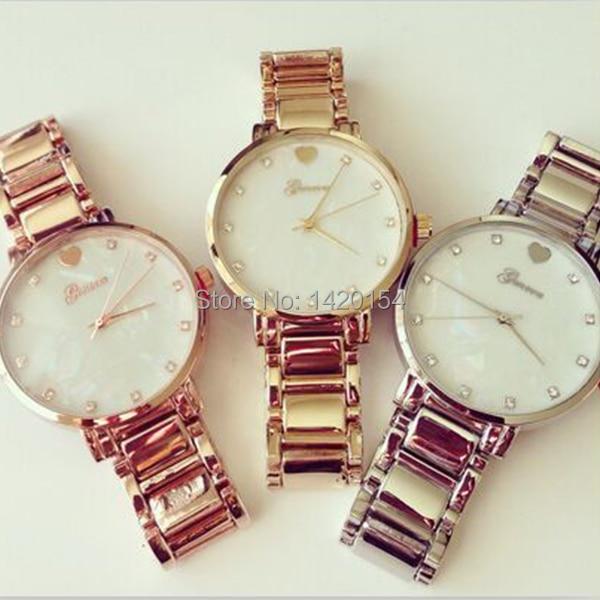 65512c9fb A legújabb ruha divat órája Heart Style Genf arany ezüst kapcsolat ...