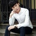 New Spring Men Full Sleeve Slim M Type Trend Green Shirt White Blue 8919