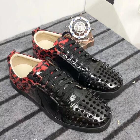 2018 Fashion Low Top Mixed Colors Leopard Red Spikes Rivets Studs Lace Up Men Shoes Casual Shoes Flats Trainers Sapatos 38-46 fashion tassels ornament leopard pattern flat shoes loafers shoes black leopard pair size 38