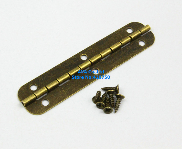40 Antique Brass Jewelry Box Hinge Long Hinge 65x15mm with Screwsin
