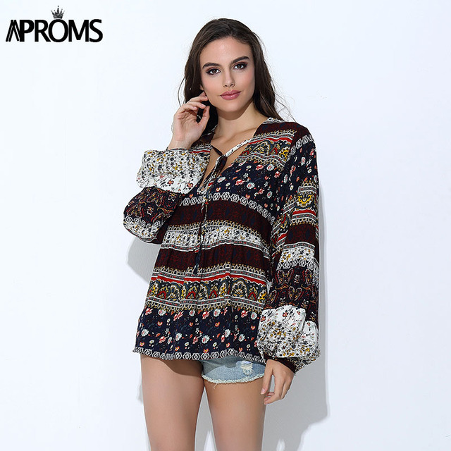 47cc5df2a5d29 Aproms Boho Floral Print Long Sleeve Blouses Women Casual V-Neck Cotton Shirts  Ladies Tunic Tops for Women s Clothing
