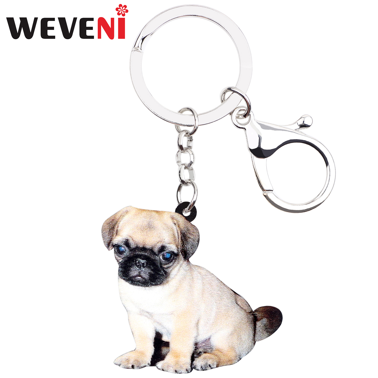 WEVENI Acrylic Pug Dog Key Chains Keychains Holder Cute Animal Jewelry For Women Girls Pet Lovers Bag Car Charms Accessories New