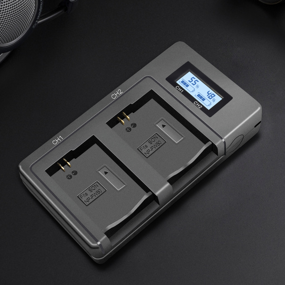 Image 3 - PALO NP FW50 camera battery charger npfw50 fw50 LCD USB Dual Charger for Sony A6000 5100 a3000 a35 A55 a7s II alpha 55 alpha 7 A-in Camera Charger from Consumer Electronics