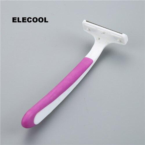 ELECOOL Disposable Ladies Shaving Razor Stainless Steel Triple Blades Rubber Handle For Leg Contour Armpit Hair Shaving