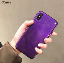 Gimfun Vintage Winered glitter Tpu Phone Case for IPhone 7 7plus 6 6s 8 X Purple simple Silicone Case Solid Soft Back Cover