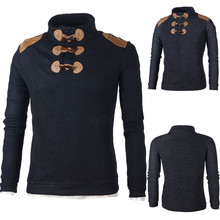 Men's Autumn Winter Casual Daily Button Choker Long Sleeve Jersey Knitting Sweater Top Blouse Gift