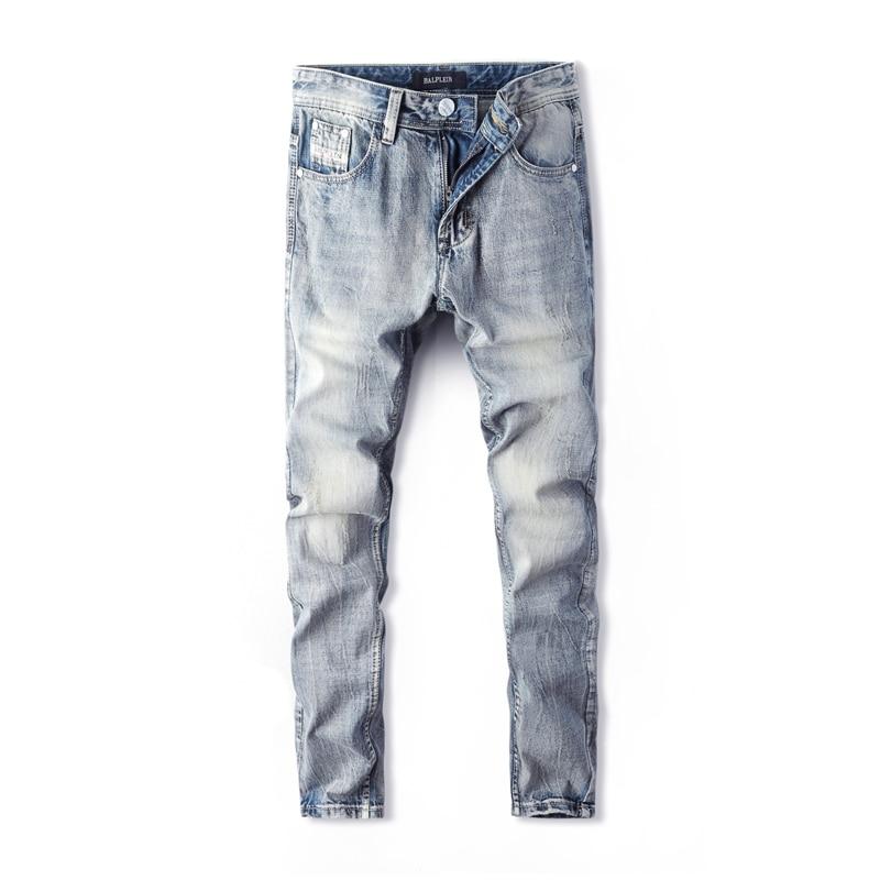 Fashion Streetwear Men Jeans Straight Fit 100% Cotton Denim Pants Hombre Ripped Jeans Men Light Blue Color Classical Jeans Homme