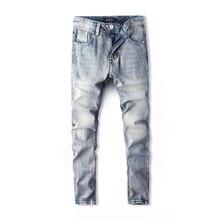 цены Fashion Streetwear Men Jeans Straight Fit 100% Cotton Denim Pants hombre Ripped Jeans Men Light Blue Color Classical Jeans homme