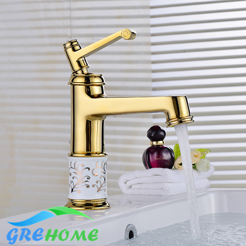 High Quality gold Single Handle Bathroom kitchen Sink Mixer Faucet/ crane/ tap blue and white porcelain Brass Hot and Cold Water disney princess brass key 2003 holiday collection porcelain doll snow white