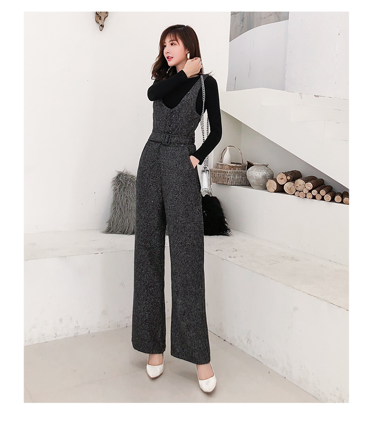 SMTHMA 2019 New arrival Autumn and winter woolen rompers womens jumpsuit+Cotton knit t-shirt women two piece outfits 4