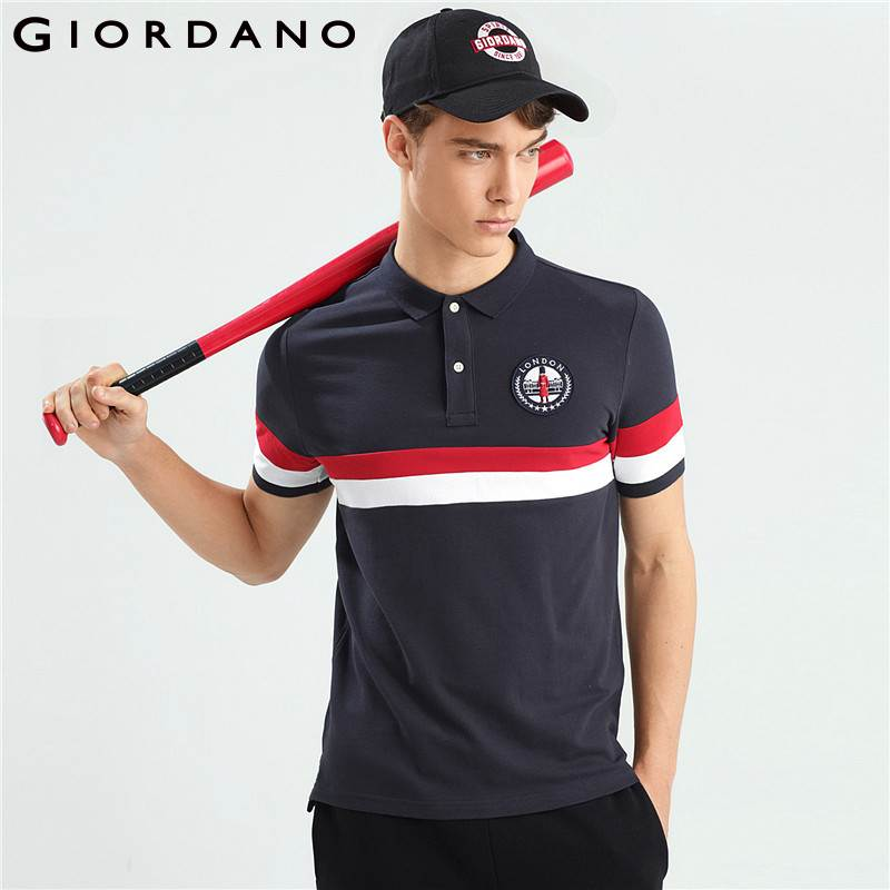 Giordano Men   Polo   Shirt Men Union Jack Embroidery   Polo   Color Blocking Camisa   Polo   Slim Pattern Short Sleeves   Polo   Homme