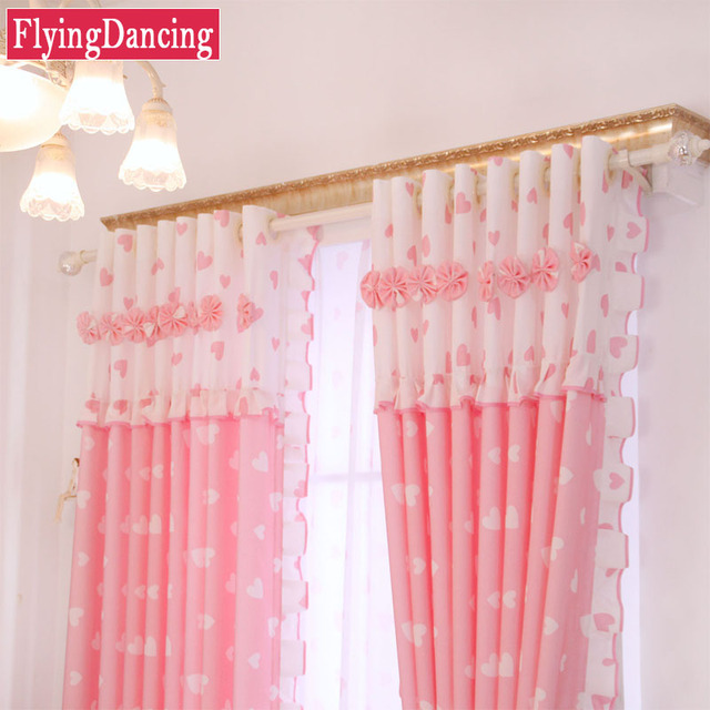 Luxury Kids Curtain For Living Room Pink Lace Cortinas Tulle Curtain ...