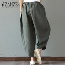 ZANZEA Autumn Retro Print Pockets Women Elastic Waist Loose Long Trousers Linen Harem Pants Cotton Casual Boho Splice Pantalon