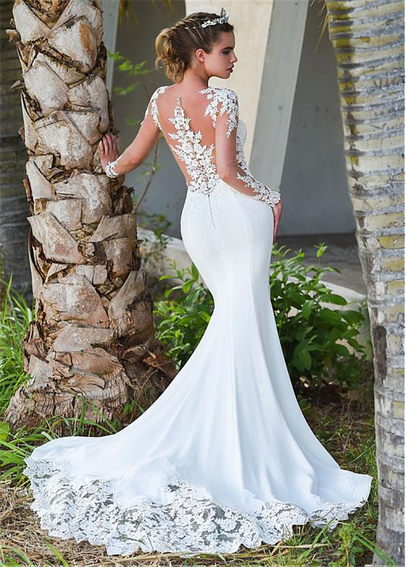 2019 Mermaid Wedding Dresses Turkey Appliques Lace Custom Made Bridal Dress Wedding Long sleeve Gown vestidos de noiva in Wedding Dresses from Weddings Events